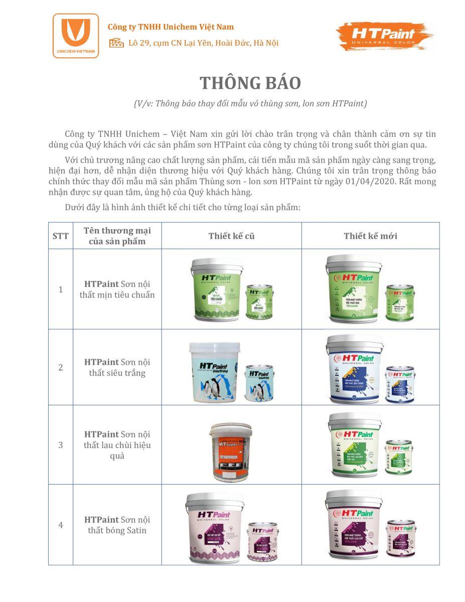 Thông báo thay đổi mẫu vỏ thùng sản phẩm HTPaint